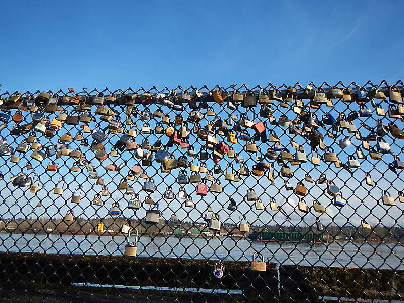 lockers on a fence