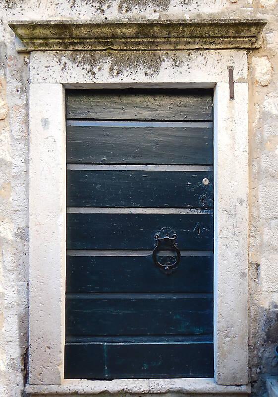 aged medieval door green 12