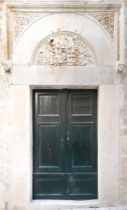 aged medieval door green 1