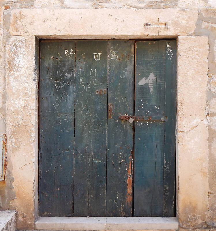 aged medieval door green 5