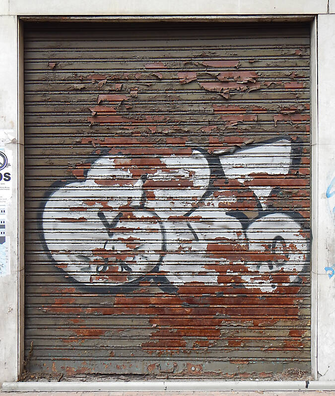 rusty and painted garage door