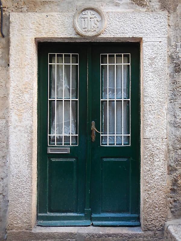 aged medieval door green 13