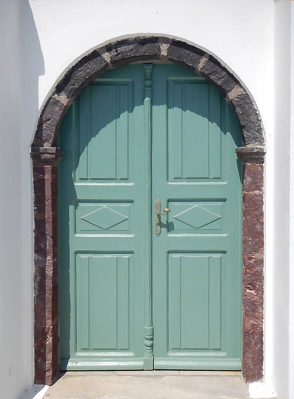 aged medieval door green 15