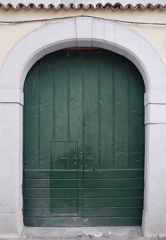 aged medieval door green 17