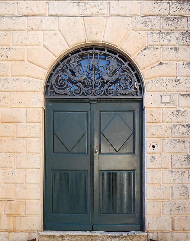 aged medieval door green 8