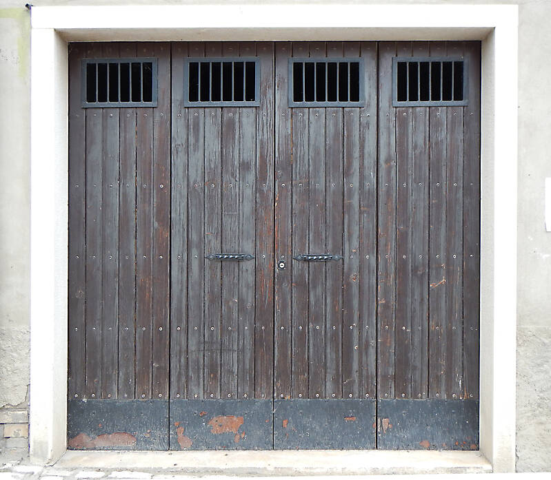 old wood garage door