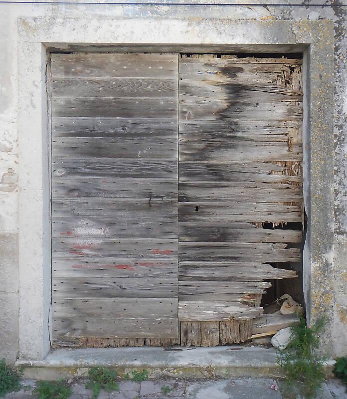 destroyed wood old door 7