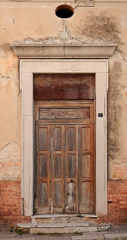 ruined and broken old door