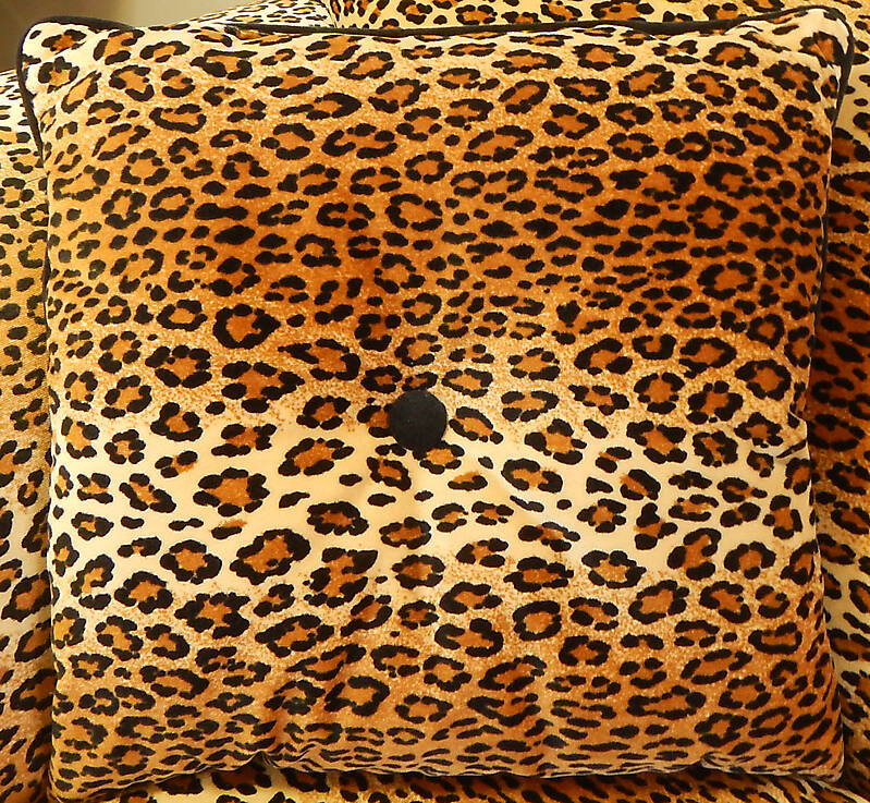 leopard fabric pillow