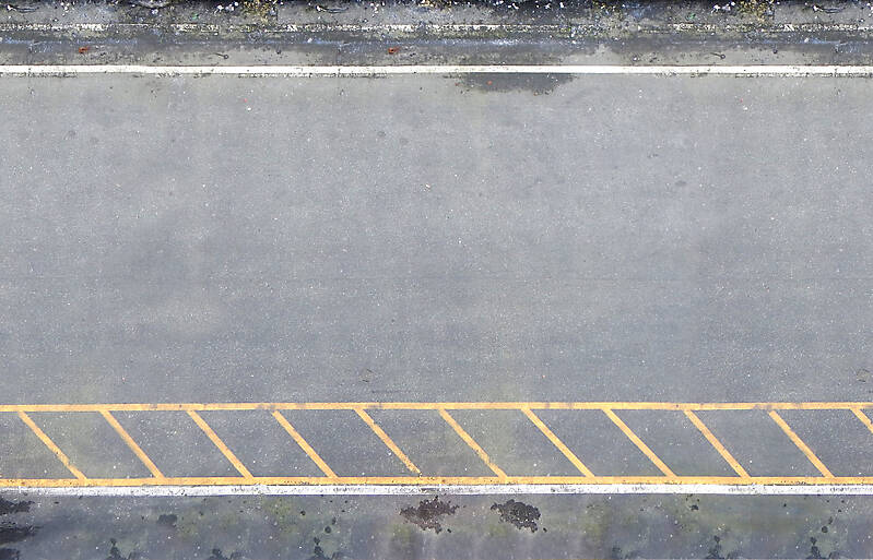 asphalt clean with yellow lines
