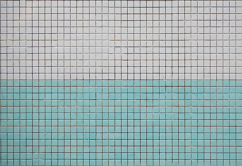 mosaic pool tiles green white