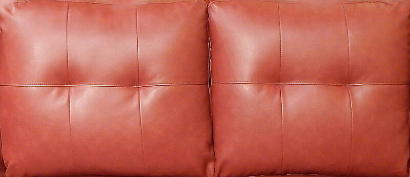 red leather backrest couch pillows 1