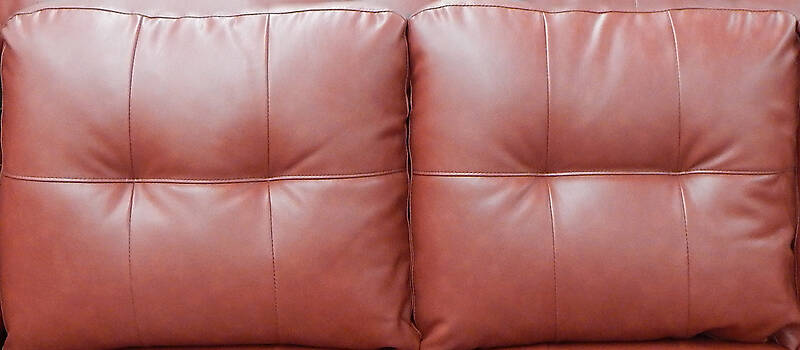 red leather backrest couch pillows 2