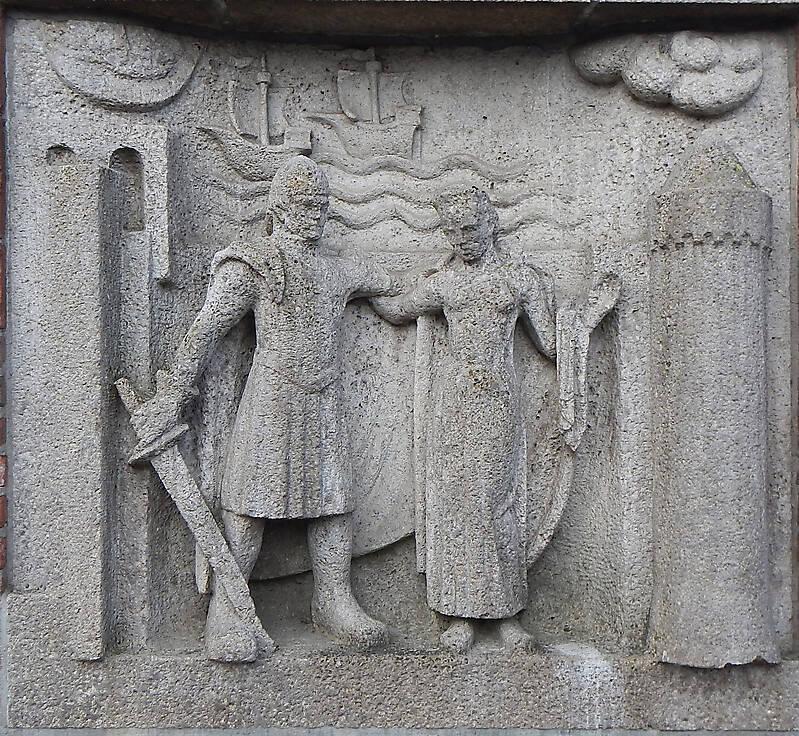 stone wall statue knight
