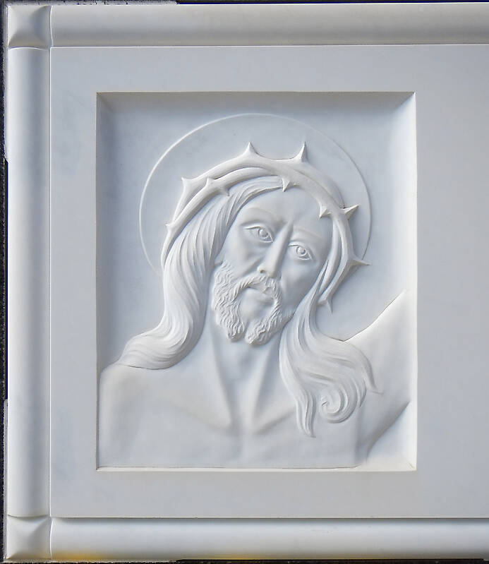 jesus on white stone ornament 14