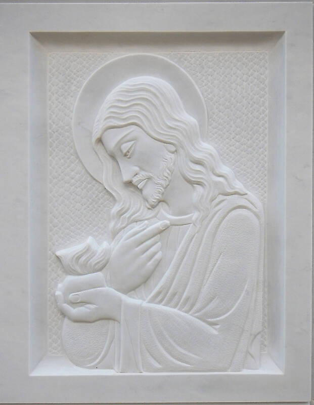 jesus on white stone ornament 6