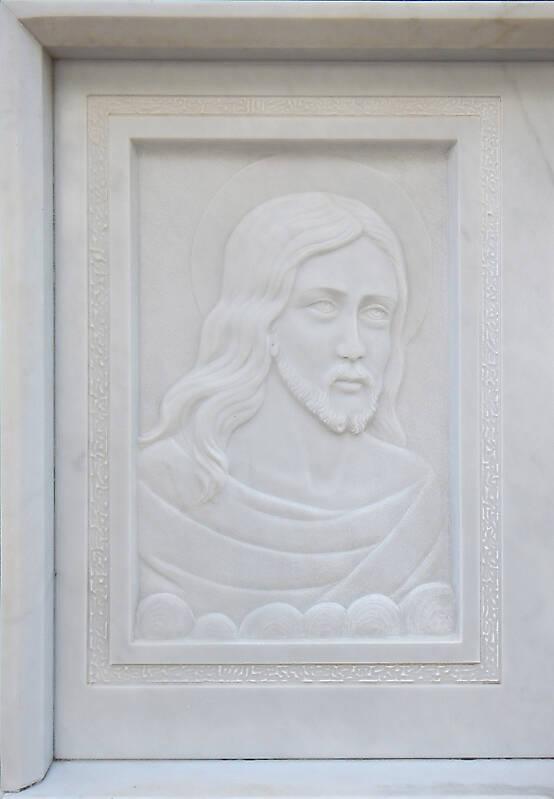 jesus on white stone ornament 8