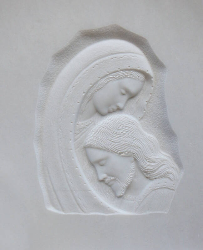 madonna and jesus on white stone ornament 11