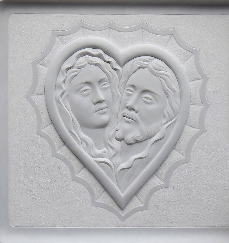madonna and jesus on white stone ornament 7