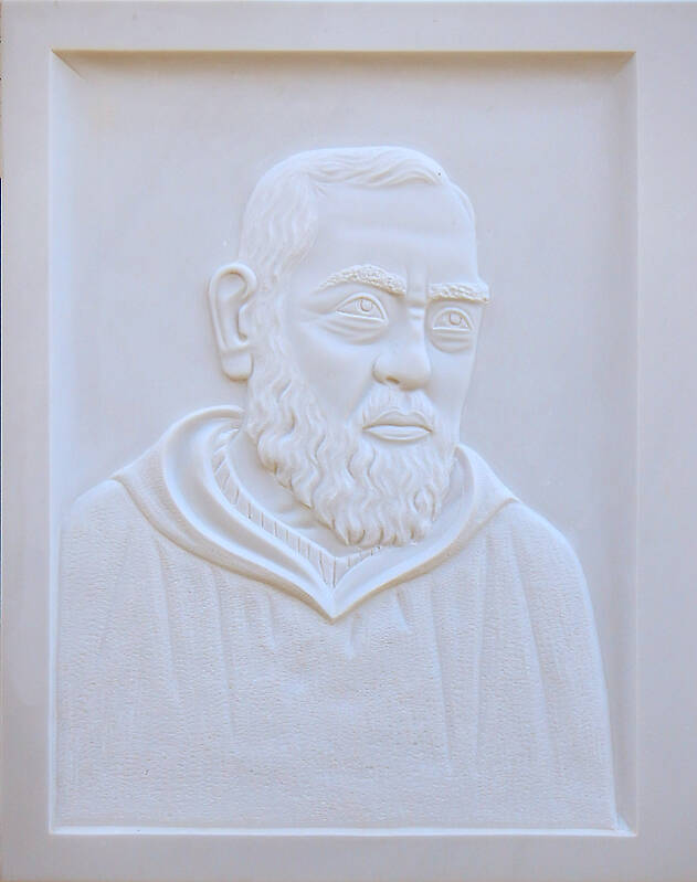 san Pio on white stone ornament 10