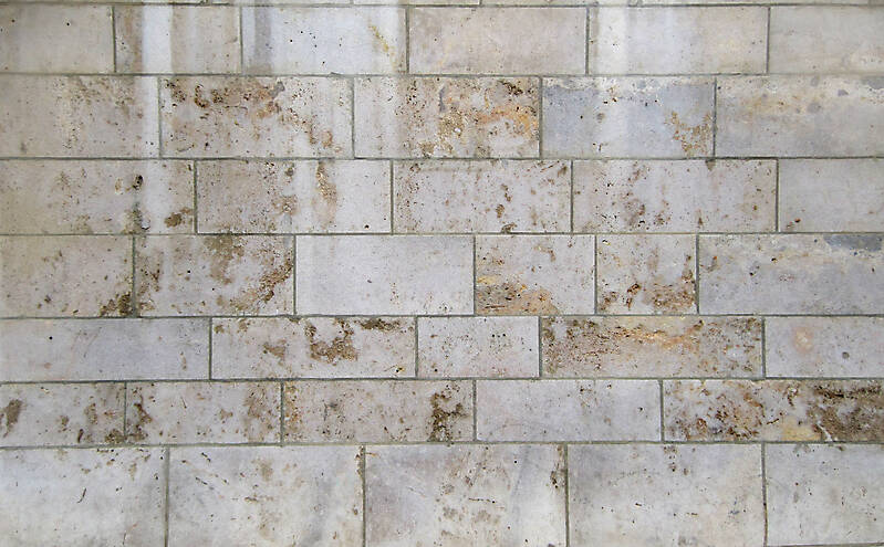 white and orange stone tile
