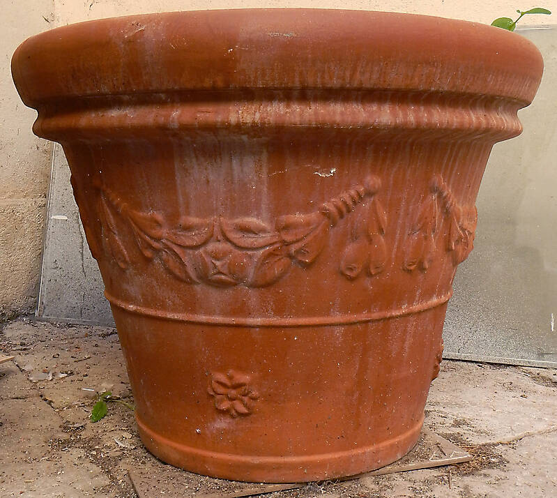 decorated terracotta vase