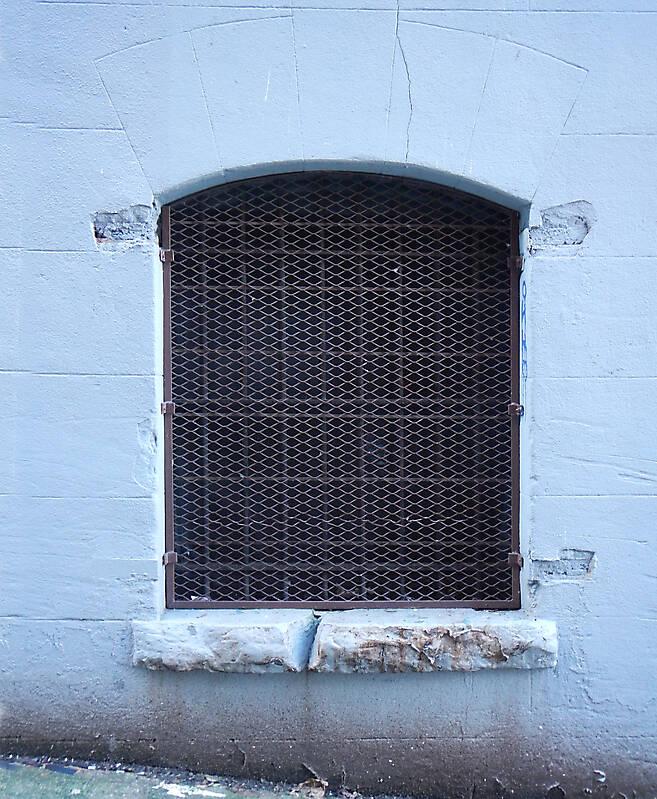 window with rusty net