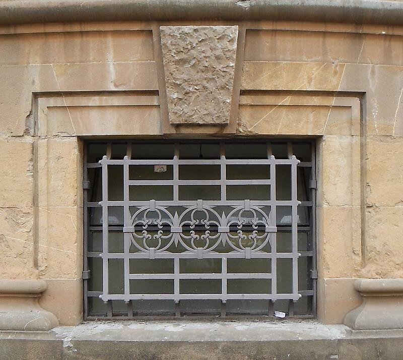 yellow stone frame medieval window