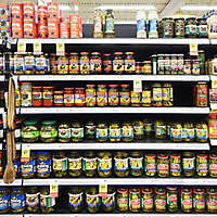 market shelves olives