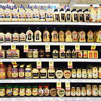 market shelves sauces