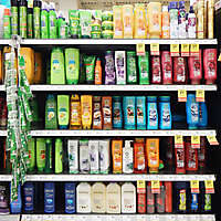market shelves shampoo