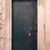 aged medieval door green 6