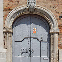 medieval portal gray paint door