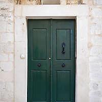 aged medieval door green 14