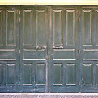 aged medieval door green 16