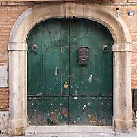 aged medieval door green 19