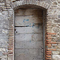 ancient very old rustic damaged door 4