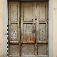 very old wood door painted