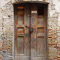 very ruined old door