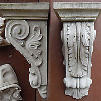sculpted stone brackets balcony support