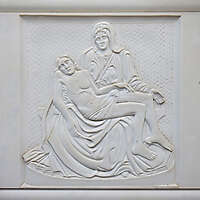 jesus and madonna white stone ornament 2