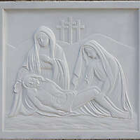 madonna and jesus on white stone ornament 13