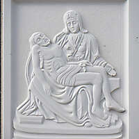 madonna and jesus on white stone ornament 15
