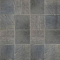 tiles black natural slate stone grout