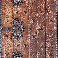 old planks with medieval metal hinges 1