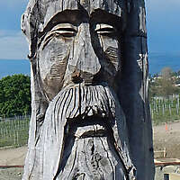 log carved face