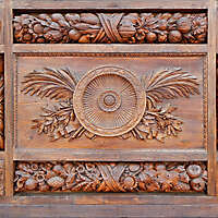 statue and flowers wood door ornaments 2
