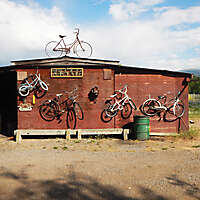 barn with bikes