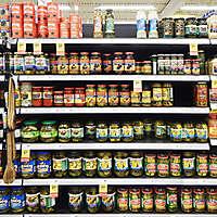 market shelves olives