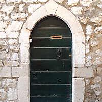 aged medieval door green 10
